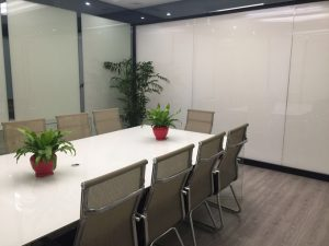 Switchable glass wall partition off